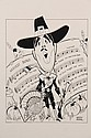 PEN & INK ILLUSTRATION - Caricature by George Wachsteter (1911-2004) of Tennessee Ernie Ford, dressed as a Pilgrim with sheet music for
