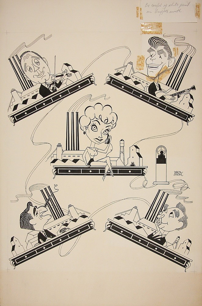 CARICATURE - George Wachsteter (1911-2004) Ink on Illustration Board Layout for CBS Promo, ca 1963-64 'Titans of Industry', incl. J B