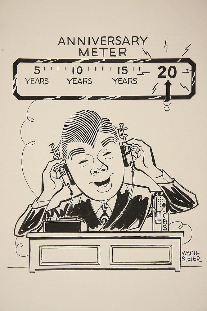 CARICATURE - George Wachsteter (1911-2004) Ink on Illustration Board of NYC Radio Host Arthur Godfrey with 'Anniversary Meter' above