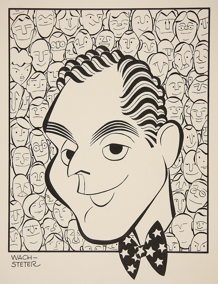 CARICATURE - George Wachsteter (1911-2004) Ink on Illustration Board of NBC-TV Host Dan Seymour, for Sept 1951 'We the People', depic