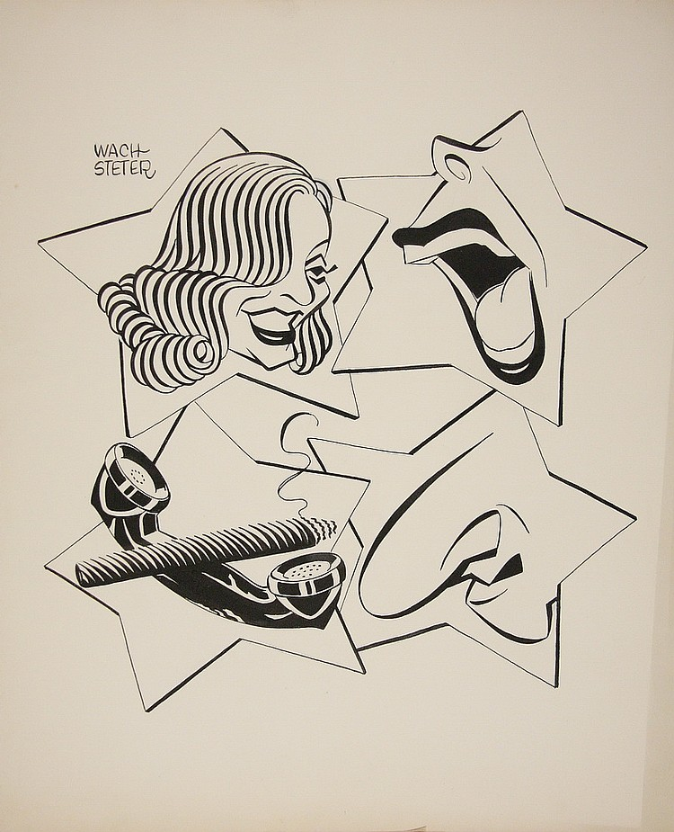 CARICATURE - George Wachsteter (1911-2004) Ink on Illustration Board for 1952-53 broadcast season of the 'All-Star Revue', NBC-TV's