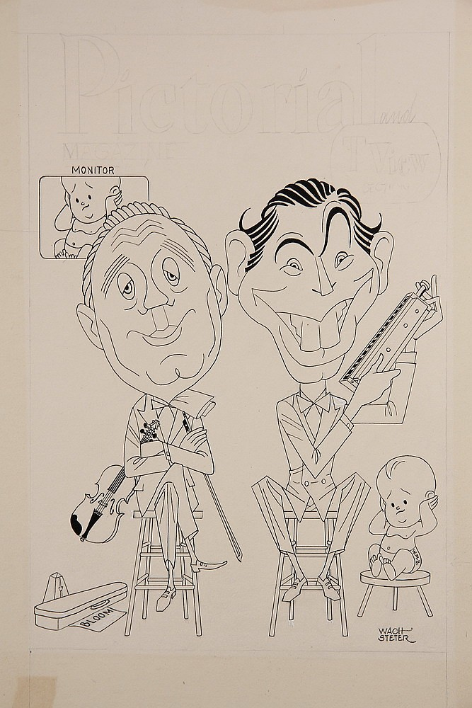 CARICATURE - George Wachsteter (1911-2004) Ink and Pencil on Illustration Board Caricature Cover Design of Jack Benny and Milton Berle