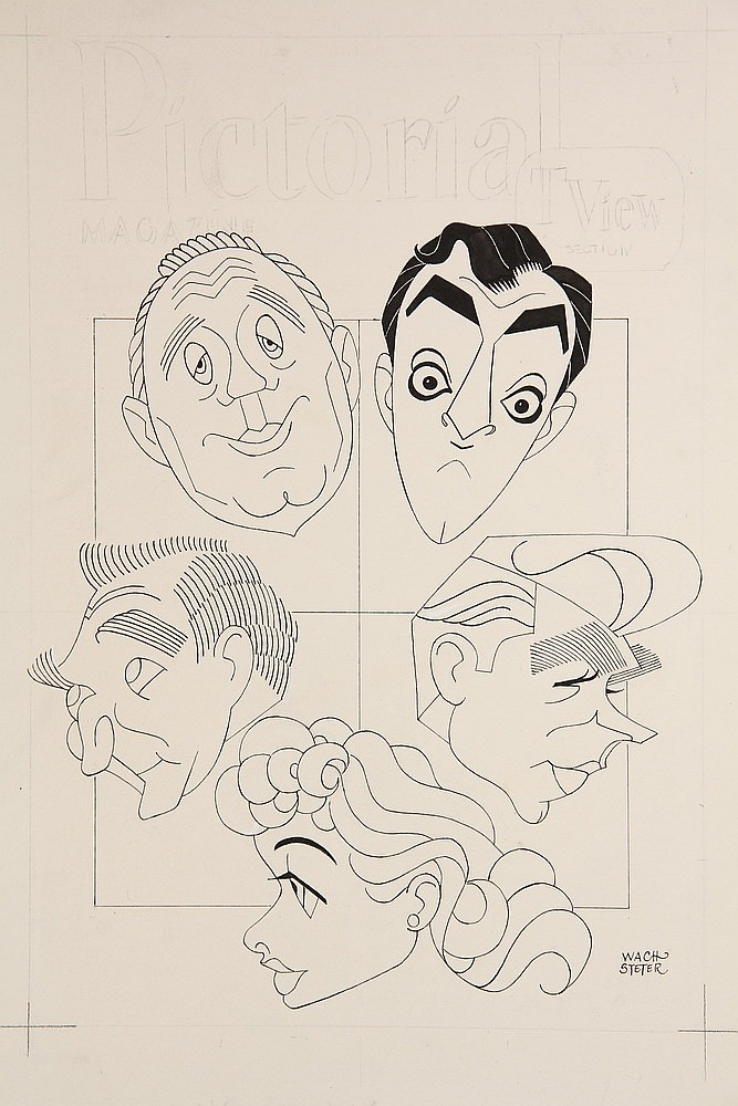 CARICATURE - George Wachsteter (1911-2004) Ink & Pencil on Illustration Board Caricature Cover Design w/ Jack Benny, Danny Thomas, Andy