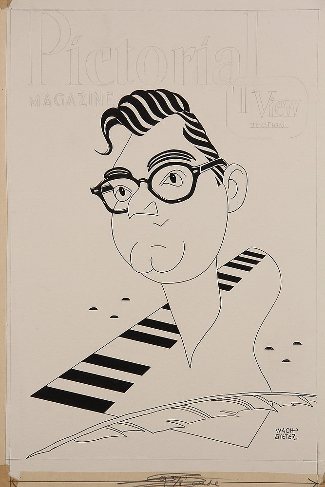 CARICATURE - George Wachsteter (1911-2004) Ink on Illustration Board Caricature Portrait of TV Host Steve Allen for the Sunday, October