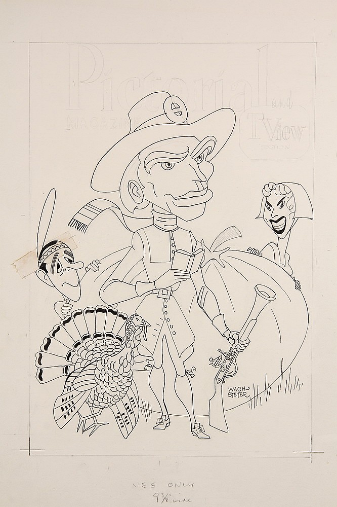 CARICATURE - George Wachsteter (1911-2004) Ink on Illustration Board Caricature Portrait of Charlton Heston (center) as a pilgrim foref