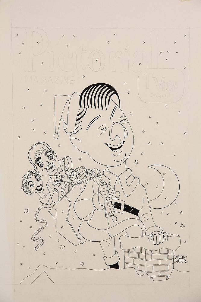 CARICATURE - George Wachsteter (1911-2004) Ink on Illustration Board drawing as ready for color art to promote the CBS-TV series, 'Can