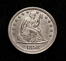 COIN - 1858 Liberty Seated Quarter, nice AU/Unc.