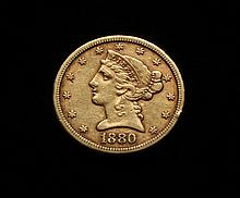 COIN - 1880-S $5.00 Liberty Gold