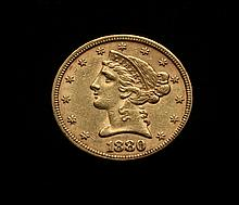COIN - 1880 $5.00 Liberty Gold
