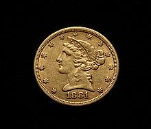 COIN - 1881 $5.00 Liberty Gold