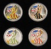 (4) COINS - (4) Pieces 2000 American Silver Eagles 1-oz ea., colored