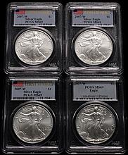 (4) COINS - (4) Pieces 2007 W Silver Eagles, burnished, (3) 1st strike, all pieces PCGS MS-69