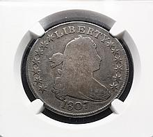 COIN - 1807 Draped Bust Half, NGC Good details 0-108, Breen 4594, Footless F, very rare.
