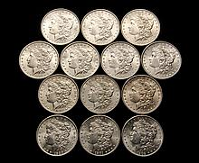 COINS - (13) Morgan Dollars, Unc-CH BU, 13 different dates, 1882-O, 1883-O, 1884-O, 1882, 1885-O, 1886, 1887, 1890, 1897, 1898-O, 1900-