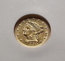 COIN - 1850-O $2.50 Gold, NGC AU 53, nice coin.