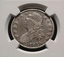 COIN - 1825 Bust Half Dollar 0-101 Rare, 'UNITEDSTATES' as one word, NGC Fine Details.