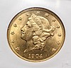 COIN - 1904 $20.00 Gold Liberty Head NGC MS - 64.