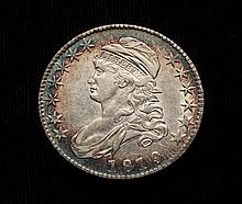 COIN - 1819 Over 18 Capped Bust Half Dollar, nice AU wonderful toning.
