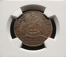 COIN - 1787 Fugio Cent New Haven Restrike NGC 61 BN.