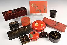 (12 PCS) JAPANESE LACQUER - Including: Three Glove Boxes, Document Box, Three Cylindrical Boxes, Playing Card Holder, Three Round Boxes