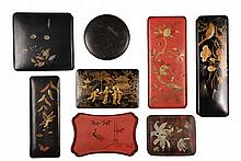 (8) JAPANESE LAQUERED PCS - Including: Three Glove Boxes, Two Trinket Boxes, Collar Box & Tray, in black or cinnabar with gilt decorati