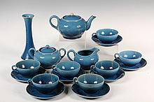 (18 PCS) JAPANESE PORCELAIN TEA SET - 1930s Blue Glazed Simple Deco Tea Service, including: Pot, Creamer & Sugar, (7) Cups & Saucers, B
