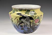 JAPANESE PORCELAIN JARDINIERE - Low Jardiniere decorated with hawk grasping duck, two sparrows in flight, over yellow to blue ombre. 7