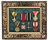 FRAMED COLLECTION OF MEDALS - (6) Military Decorations, WWI & WWII, Austro-Hungarian, German & Czech. Mounted in Victorian laquered fra