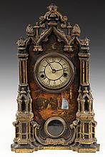 SHELF CLOCK - Painted Cast Iron Gothic Style Clock with landscape below face having ruins of a castle centered on a mother-of-pearl inl