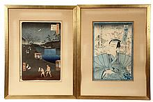 (2) FRAMED JAPANESE PRINTS - 100 Views from the Road to Kyoto by Hiroshige & Portait of an Actor by Utamaro, appear to be first generat