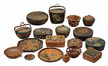 (18) PCS ORIENTAL BASKETRY - Circa 1920s-30s Chinese and Japanese Paint Decorated Basketry, including sewing baskets, desk boxes, bowls