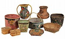 (9) PCS ORIENTAL BASKETRY - Circa 1920s-30s Chinese and Japanese Basketry, including urns, jardinieres and boxes, some with paint decor