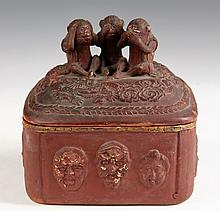 JAPANESE POTTERY - Painted Soft Paste Humidor with three wise monkeys of Tosho-Gu Shrine, Nikko, on top (hear no evil, see no evil, see