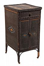 RARE WICKER VICTROLA STAND - Basketweave Cabinet with drawer & two-door record storage, in black paint with orange & blue diamond decor