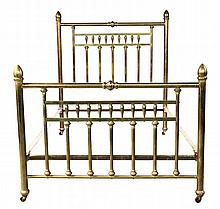 FULL-SIZED BRASS BED - Vintage Late 19th c. Heavy Brass Bed with acorn finials, turned rail, spindle & stile back. 62