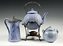 (3 PCS) PALE BLUE IRONSTONE - 19th c. American Faux Wedgwood Warmer Pot on Meriden Silver Plate Stand; Coffee Pot with pewter lid, deco