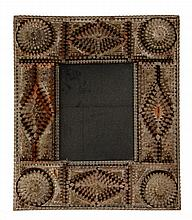 TRAMP ART MIRROR - Brown Painted Stacked Geometric Wooden Tramp Art Frame, circa 1900, with later mirror. 23 1/2
