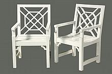 PAIR OF PATIO CHAIRS - White Lacquered Chinese Chippendale Style Armchairs with lattice backs, unmarked, but custom made by Richardson-