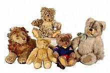 (5) STEIFF ANIMALS - Early Large Reclining Lion; Medium White Teddy Bear; Tan Teddy Bear; Yellow Teddy Bear & Brown Teddy Bear in hocke