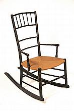 EARLY CHILD'S ROCKER - Circa 1820 Sheraton Period Faux Bamboo Birdcage Windsor Child's Rocker w/ later rush seat, in orig black paint