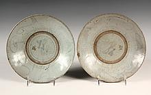 (2) KOREAN POTTERY DISHES - Pair Choson (Joseon) Deep Dishes in thick glaze with swirling forms in border, Korean character at center.