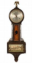 BANJO CLOCK - Circa 1930 sessions mahogany cased banjo clock. 8-day time and strike brass movement. Lower tablet depicts Mt. Vernon, th