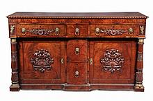 FEDERAL PERIOD BUFFET - Roman Revival Figured Mahogany Buffet, roped edge top, overhanging upper drawers with appliques, brass lion pul