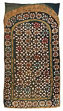 19TH C PERUVIAN TEXTILE - Cut-work Door Hanging in cotton, with flower-form openings. 36