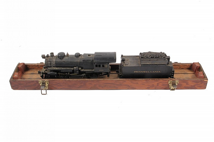 MODEL TRAIN LOCOMOTIVE & TENDER - Painted Cast Brass Electric Model of Pennsylvania Railroad Steam Locomotive #9900, 2-8-0, O gauge, 1: