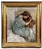 OIL ON CANVAS - Young Girl Combing Her Hair by LG Lamur, signed lr. In replica gilt Arts & Crafts frame. SS: 30