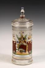 GERMAN BIERHUMPEN - Bohemian Glass Commemorative Covered Beaker, late 19th c., with enameled decoration, possibly by Fritz Heckert,depicting the Kings of seven City States flanking the Holy Roman Emperor Matthias, Kin...