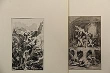 (2) ENGRAVINGS AFTER FRANCOIS BOUCHER (1703-1770) - Both Rococo Fountain Fantasies featuring putti or young men, one by JOHANN GEORG MERZ (1694-1762), the other by JOHANN GEORG HERTEL (1700-1775), tipped into mats, ro...