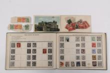 STAMP ALBUM - Scott Imperial Stamp Album, fourth edition, 1899, sparsely populated, about half MLH, mostly pre-1920, missing p51-52. Very clean.
