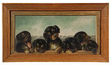 SUSANNA ADAMS WINN, (MA, 1852-1935); Six Puppies in a trompe l'oeil frame, circa 1900, oil on canvas, signed upper right